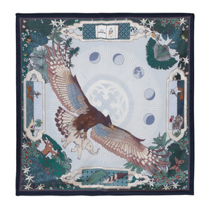 "Noctua - Discovery in Madagascar, 36X36"" Silk Twill Scarf, Grey and Blue"