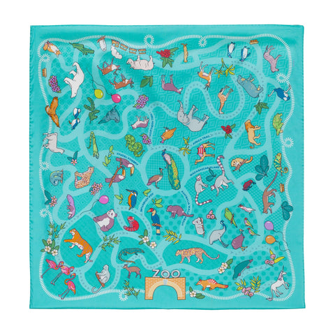 "Noctua - Zoo La La, 36X36"" Silk Twill Scarf of animals, Blue, aqua, teal and green"