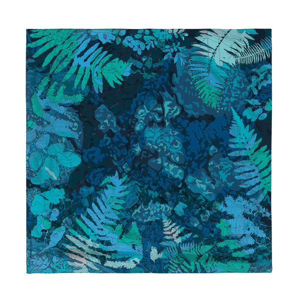 "Noctua - Cascading Rivers, 36X36"" Silk Twill Scarf, Green and Blue"