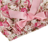 Pink flower pattern with a light pink bow on the waistband