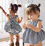 Cute dark blue and white striped backless baby dress.