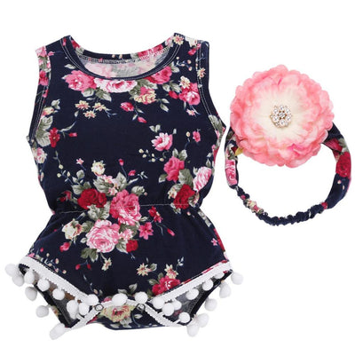 Floral Romper With Matching Headband