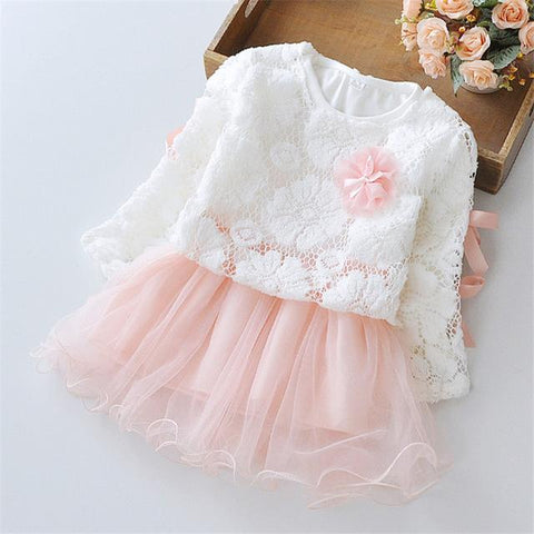 Pink Lace & Flower Baby Girl Dresses