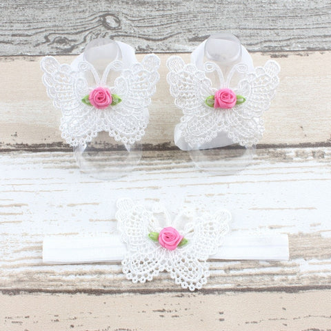 White butterfly baby sandals