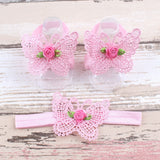 Pink butterfly headband and baby sandal set