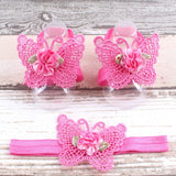 Pink butterfly shaped baby sandal and headband set with a dark pink flower
