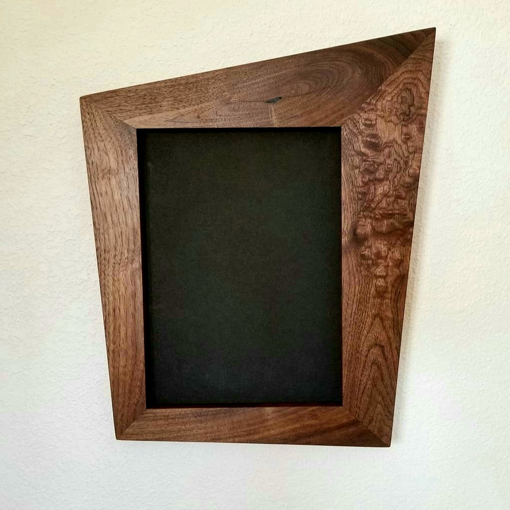 Trapezoid walnut picture frames