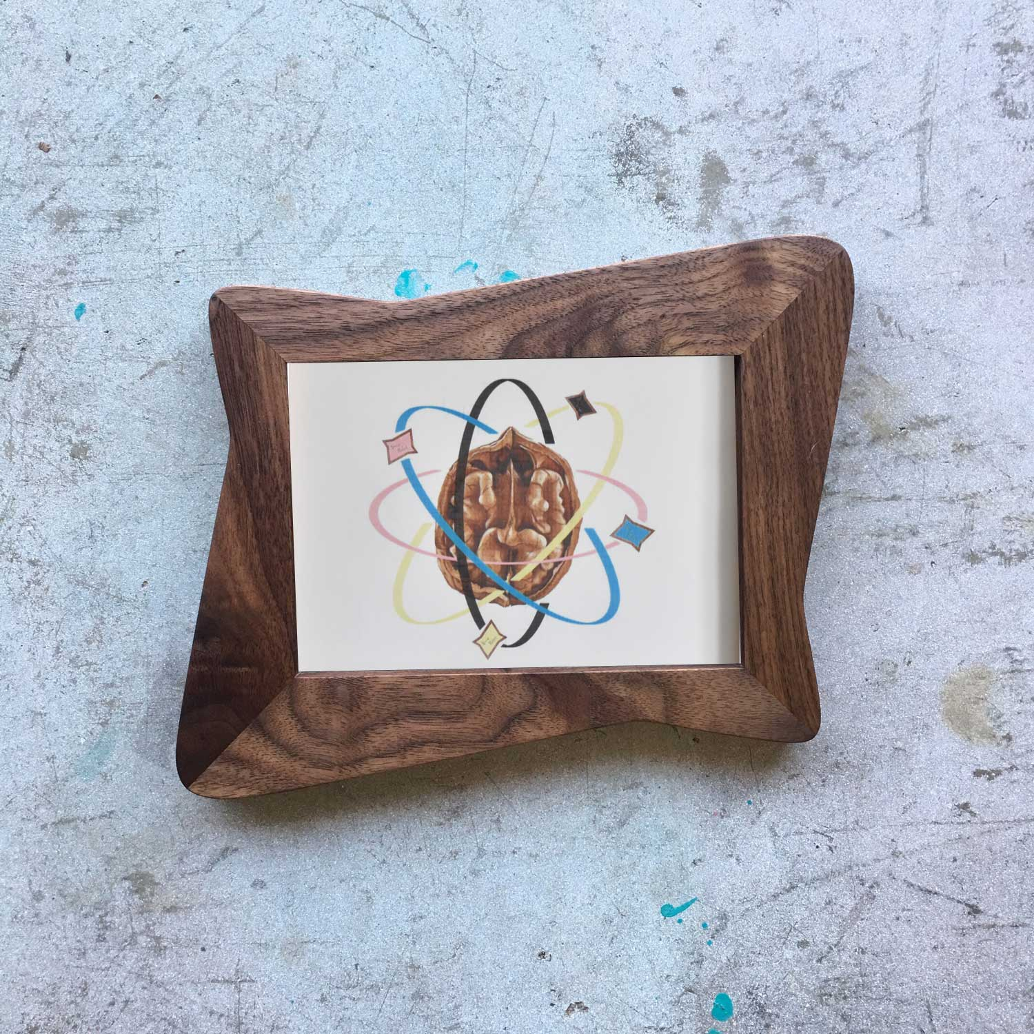 Walnut Atomic Hour Glass Picture Frame - Atomic Walnut