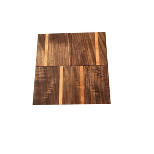 Walnut Coasters With Accent Stripe 4 Piece Set - Everything Modern