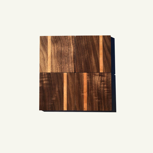 Walnut Coasters With Accent Stripe 4 Piece Set
