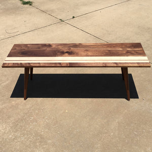 Striped Mid Century Modern Coffee Table - Atomic Walnut