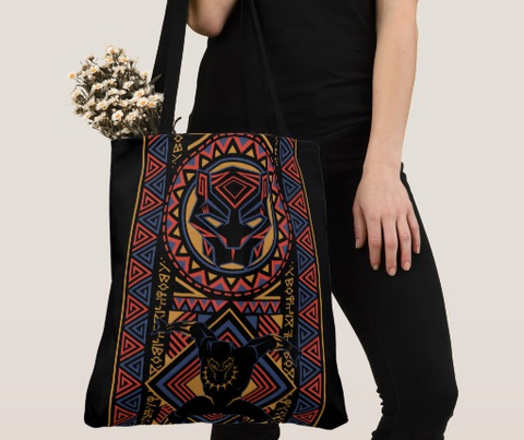 black panther african print tote bag purse