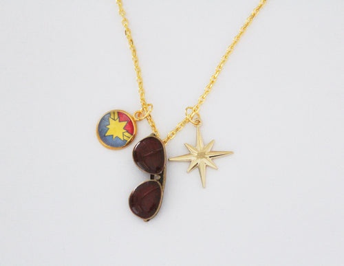 Captain Marvel Gold Charm Star Necklace
