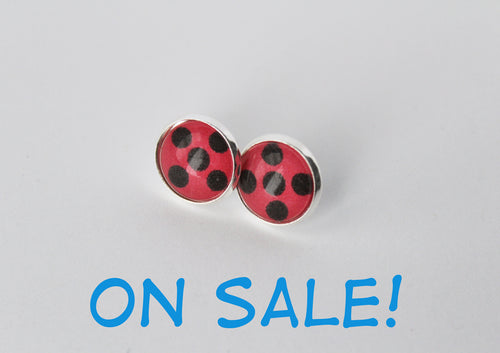 HALF OFF SALE Miraculous Ladybug or Chat Noir Earring Studs
