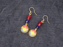 Captain Marvel Gold Dangle Earrings