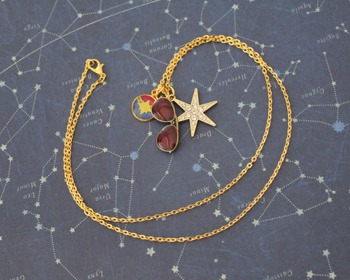 Gold Captain Marvel Charm Necklace
