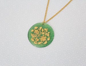 Green and Gold Shell Pendant