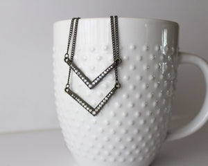 Layered Chevron Crystal Necklace