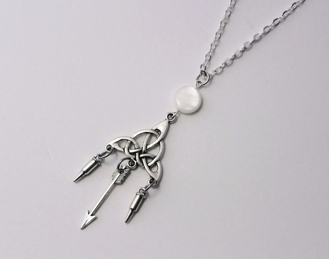 Teen Wolf Silver and Pearl Moon Pendant Necklace