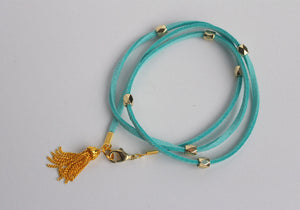 The Jasmine Gold and Teal Tassel Wrap Bracelet