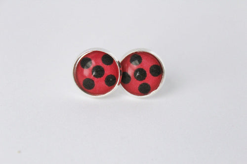 Miraculous Ladybug Earrings Silver Studs
