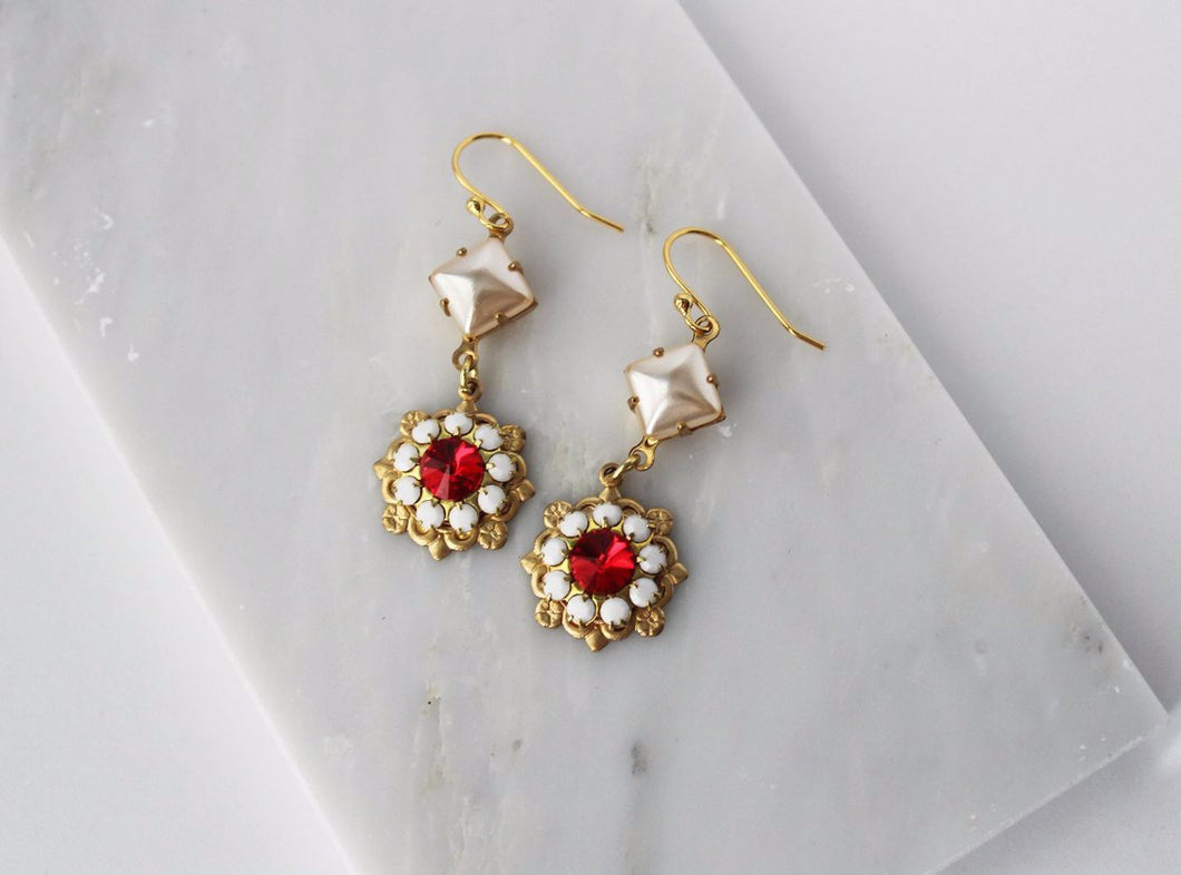 The Anastasia Earrings Vintage Gold and Crystals