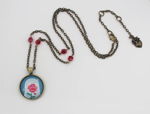 Belle Enchanted Rose Cabochon Necklace