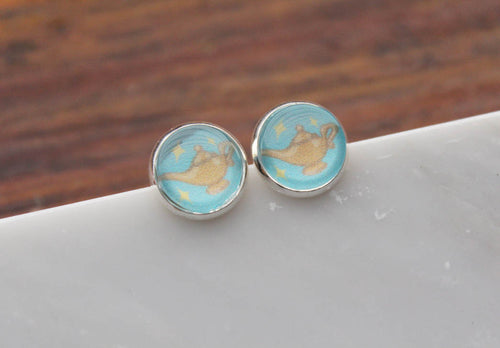 Aladdin and Jasmine Silver Stud Earrings