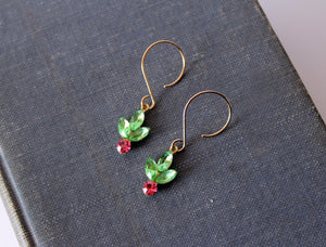 Jolly Berry Earrings 14k Gold Vintage Swarovski Earrings