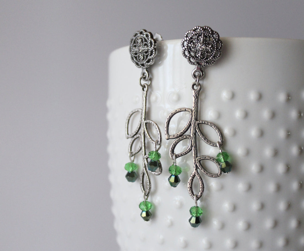Silver and Green Ivy Earrings