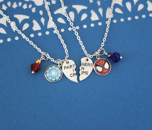 Iron Man and Spider Man Friendship Necklace Set