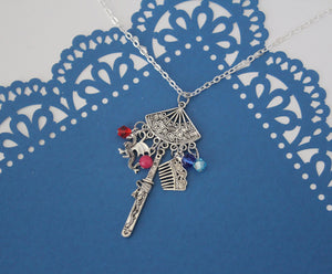 Mulan Fan Pendant Necklace