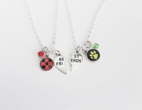 Ladybug Chat Noir Friendship Necklace Set