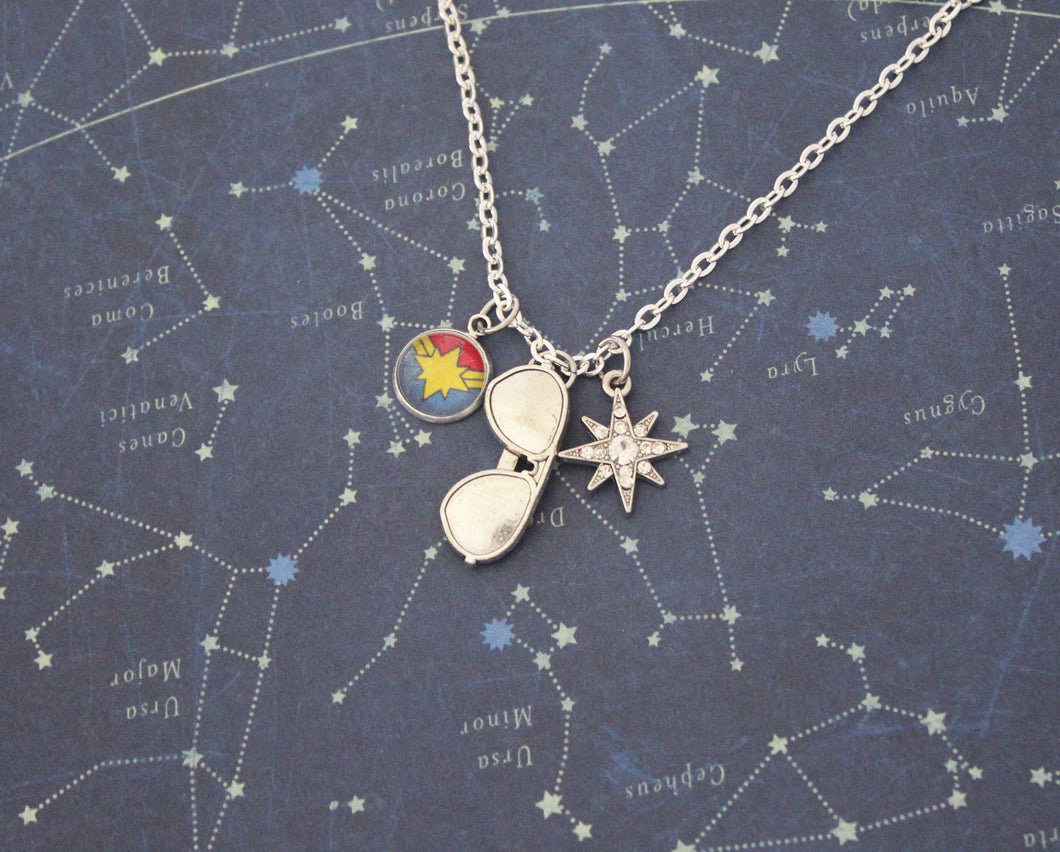 Silver Captain Marvel Charm Necklace