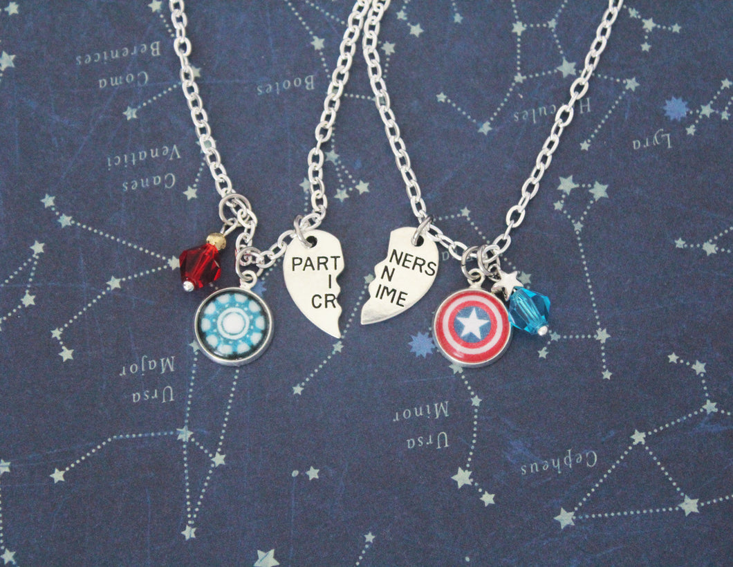 Steve and Tony Friendship Necklace Set