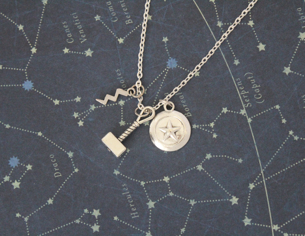 Steve and Thor Mjolnir Charm Necklace