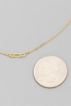Linnie Chain Link Pendant Necklace (WHITE GOLD)