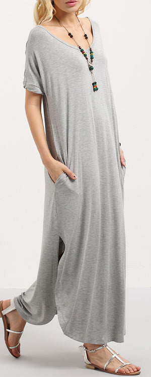 Curved Slit Hem Maxi Dress