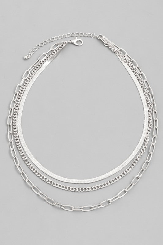 Valen Layered Chain Necklace (SILVER)
