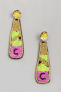 Beaded Champagne Bottle Drop Earrings