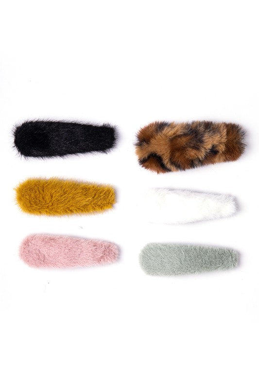 Cozy Furry Hair Clips Set