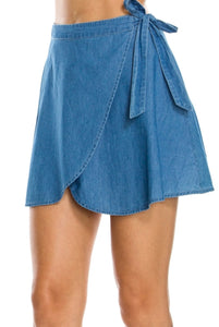 Self- Tie Wrap Denim Skirt