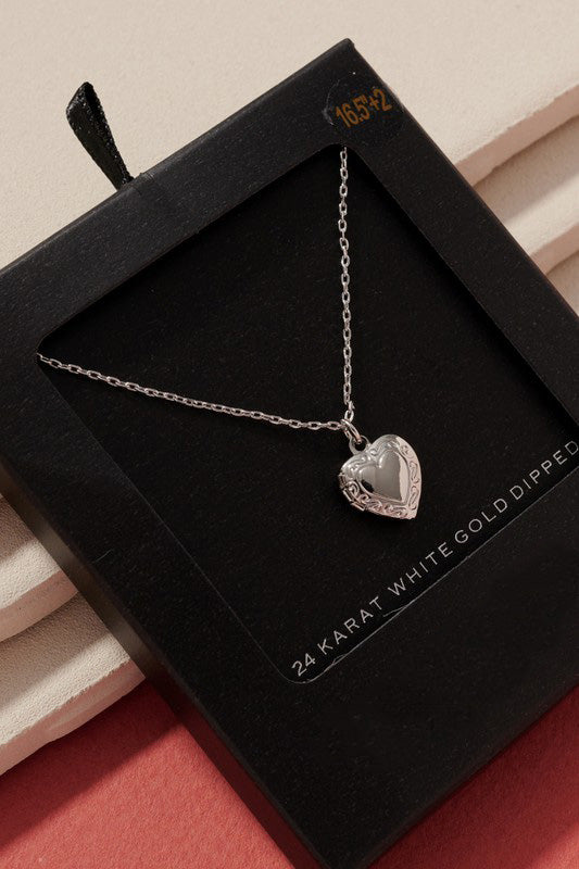 Locket Necklace (WHITE GOLD)