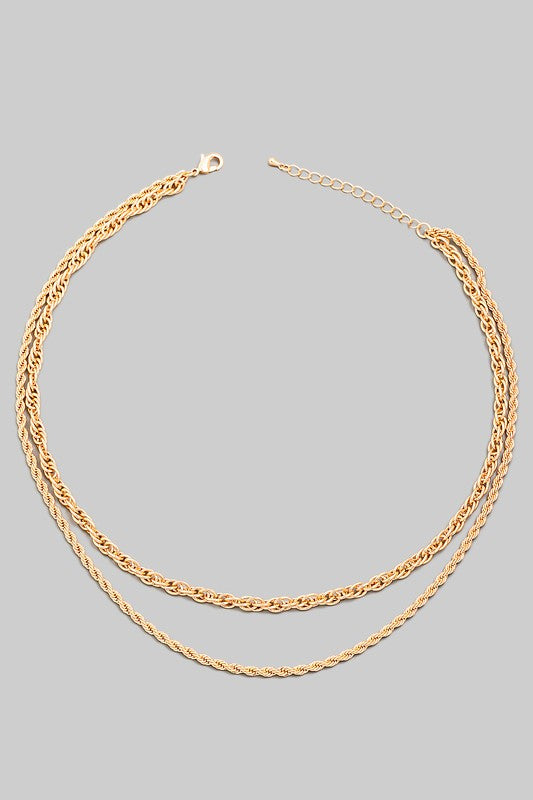 Cleo Layered Rope Chain Necklace (GOLD)