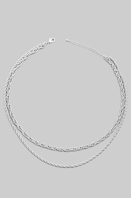 Cleo Layered Rope Chain Necklace (SILVER)