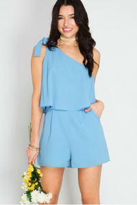 One Shoulder Layered Romper With Shoulder Tie