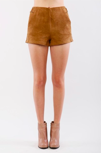 Faux Suede Shorts With Pockets