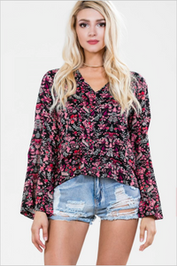 Long Sleeve Floral Print Layered Top