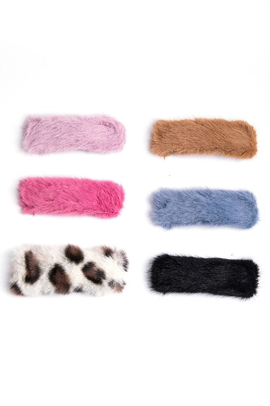Vivid Furry Hair Clips Set