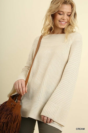 Bell Sleeve Boat Neck Sweater